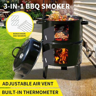 AU79.99 • Buy 3in1 Charcoal BBQ Grill Smoker Portable Outdoor Barbecue Roaster Steel Camping