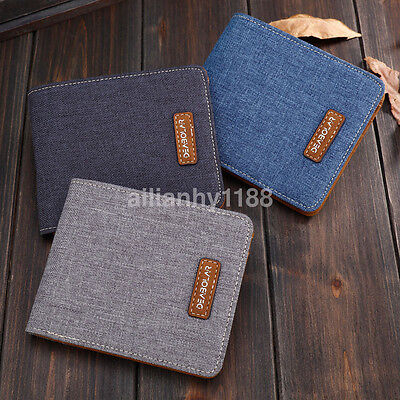 Men/Boys Canvas Wallet Billfold Canvas Bifold Purse Clutch Card Money Holder New • 4.25
