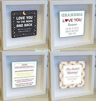 PERSONALISED Shadow Frame 3D WALL ART Unusual Gifts For Her MUM GRANDMA Birthday • 25.79£