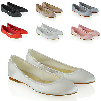£9.99 • Buy New Womens Bridal Shoes Satin Flower Girl Ladies Wedding Prom Pumps Size 3-9
