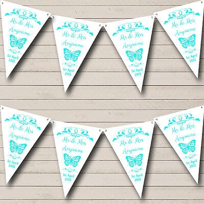 £6.99 • Buy Butterfly Engagement Butterfly Aqua Personalised Engagement Party Bunting Banner