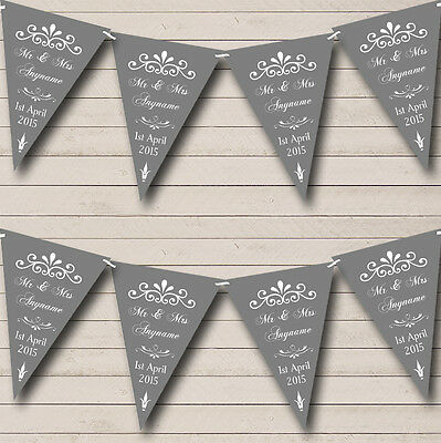 Vintage Regal Grey Personalised Wedding Anniversary Party Bunting Banner Garland • 5.99£