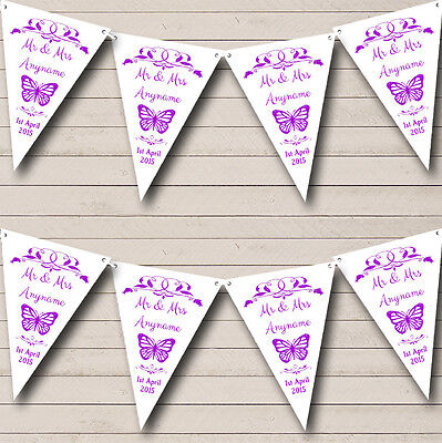 £7.29 • Buy Butterfly  Purple Personalised Wedding Anniversary Party Bunting Banner Garland