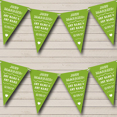 Vintage Just Married Olive Green Wedding Venue Or Reception Bunting Banner • 5.99£