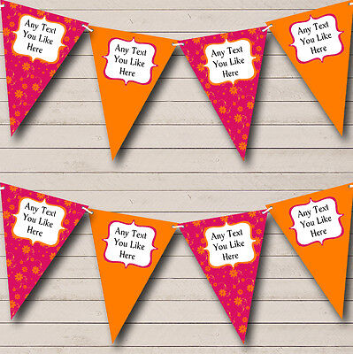 Pink And Orange Personalised Wedding Venue Or Reception Bunting Banner Garland • 7.29£