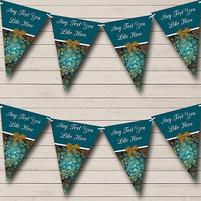 Gold And Turquoise Teal Personalised Wedding Anniversary Party Bunting Banner • 4.99£