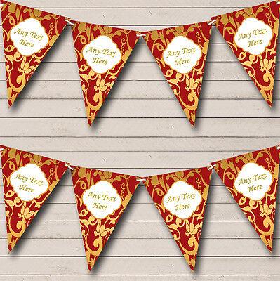 Regal Deep Red And Gold Damask Wedding Anniversary Party Bunting Banner • 4.99£