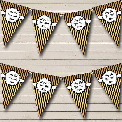 Black And Gold Elegant Stripes Wedding Anniversary Party Bunting Banner • 6.99£