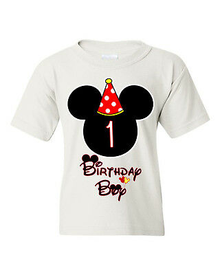 Birthday Boy Kids T Shirt Mickey Mouse Customized With Any Age