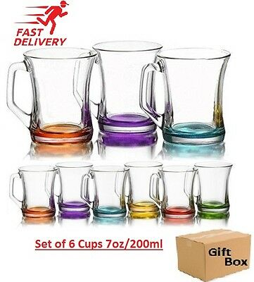 Set Of 6 Coloured Glass Tea Coffee Cappuccino Cups Hot & Cold Drink Mugs - Gift • 12.95£