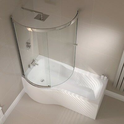 £359.95 • Buy P Shape Shower Bath 1500 1700mm With Full Screen  Left Or Right Hand Bathroom UK