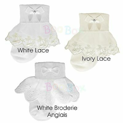 Baby Girls & Girls Special Occasion Christening Frilly Ankle Socks UK NB-6 Years • 6.99£