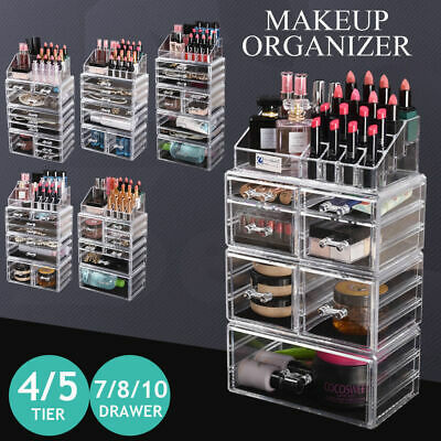 AU39.99 • Buy Cosmetic Organizer Makeup Storage Organiser Box Jewellery Box  7/8/10 Drawers