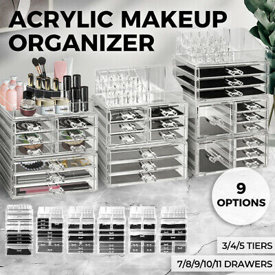 AU51.99 • Buy Makeup Case Makeup Organiser Acrylic Cosmetic Storage Box 7/8//9/10/11 Drawers