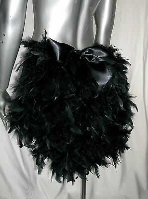 Feather Bustle With Bow. Burlesque, Show Girl. Black • 15£