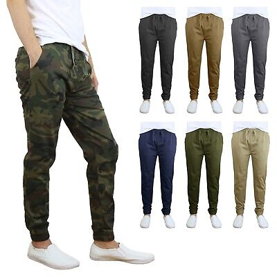 $17.54 • Buy Mens Twill Stretch Jogger And Cargo Pocket Pants Chinos Work Lounge Active NEW