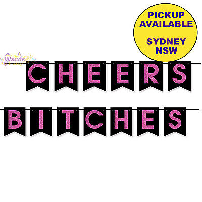 AU11.95 • Buy Hens Night Bachelorette Party Supplies Cheers Bitches Pennant Banner Decorations