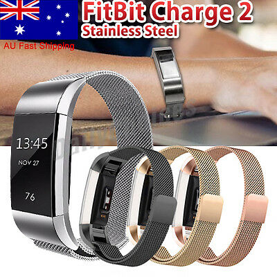 AU10.69 • Buy OZ For Fitbit Charge 2 Band Metal Stainless Steel Milanese Loop Wristband Strap