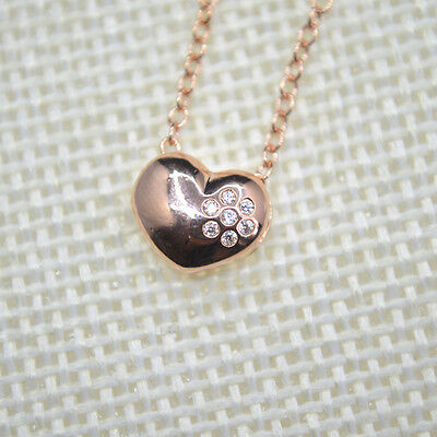 £3.99 • Buy Shiny Rose Gold PLATED Cute Love Heart CZ Flower Pendant Chain Necklace 18