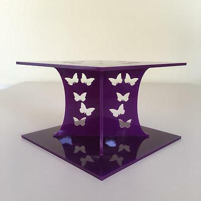 Butterfly Design Square Wedding/Party Cake Separators - Purple Acrylic • 14.99£