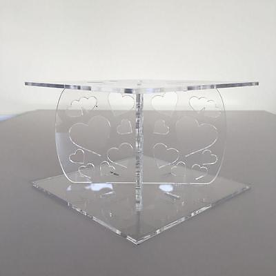£13.99 • Buy Hearts Design Square Wedding/Party Cake Separators - Clear Acrylic