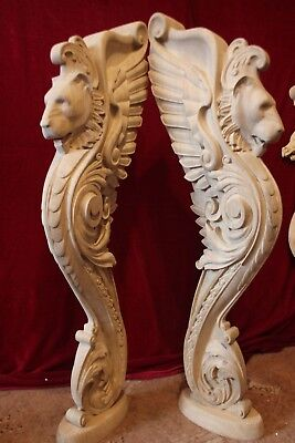 $410 • Buy Wooden Stairs Baluster Newel, Oak Carved  Gryphon Statue, Decorative Element.