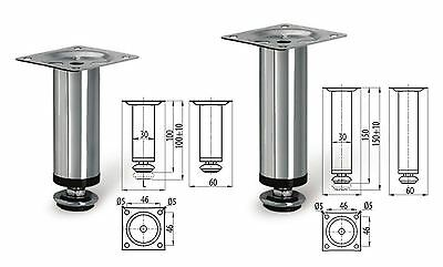 4 X Adjustable Plinth Leg For Kitchen Cabinet Furniture Sofa Chrome 100mm 150mm • 8.29£