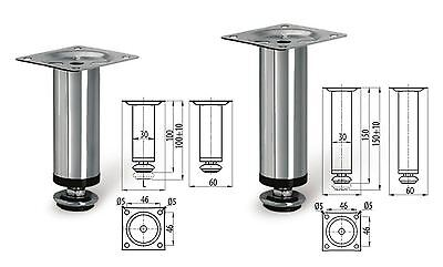 Adjustable Plinth Leg For Kitchen Cabinet/Furniture/Sofa Chrome 100mm / 150mm • 1.39£