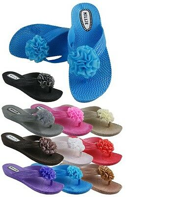 £8.95 • Buy 402 Summer Flower Toe Post No Sandals Shoe Flip Flops Beach Jelly Pool Holiday
