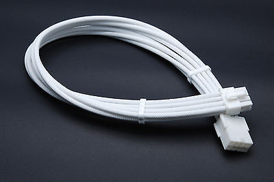 £8.99 • Buy 8 Pin Pcie Full White GPU Sleeved Power Supply Extension Cable 2 Comb Shakmods