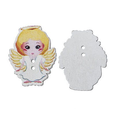 £3.25 • Buy 10 Pretty Blonde Angels. Wood Sewing, Scrapbook, Craft Buttons. 35 X 28mm