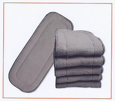 AU39.95 • Buy 10x Nappy Inserts For MCN New 5 Layers Bamboo Washable Reusable Charcoal 11*27cm