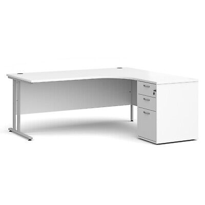 £325 • Buy Right Hand Corner Desk 1800 X 1200 With 3 Drawer Lockable Pedestal 5 Colours