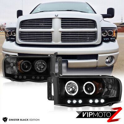 $135.28 • Buy SINISTER BLACK 2002-2005 Dodge Ram 1500 Halo LED Head Lights 03-05 Ram 2500 3500