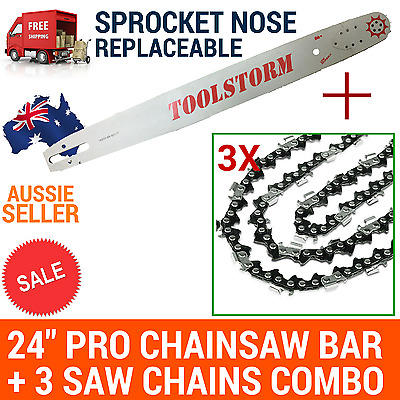 AU142.99 • Buy 24/25  TOOLSTORM Pro Chainsaw Bar &3chain For Stihl 3/8 063 84DL 066 MS660 MS390