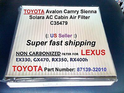 $7.45 • Buy For TOYOTA AC CABIN AIR FILTER Avalon Camry Sienna Solara C35479  87139-32010