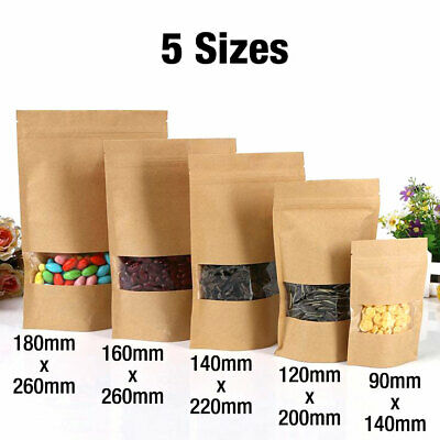 Kraft Paper Bag / Window Stand Up Pouch Zip Lock Resealable Heat Seal Display • 3.79£