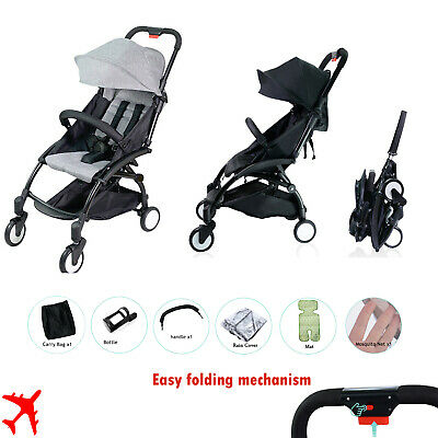 AU129.90 • Buy Black Grey Compact Travel Stroller With Rain Cover All Accesories
