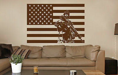$28.99 • Buy Ik733 Wall Decal Sticker Army Soldier Military Weapons American Flag Vest Room