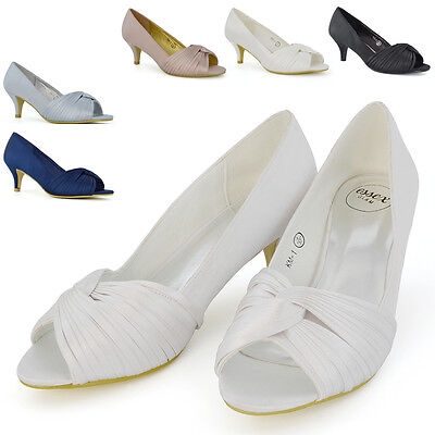 £16.99 • Buy Womens Bridal Shoes Low Heel Evening Ladies Prom Party Satin Rushed Peep Toe 3-8