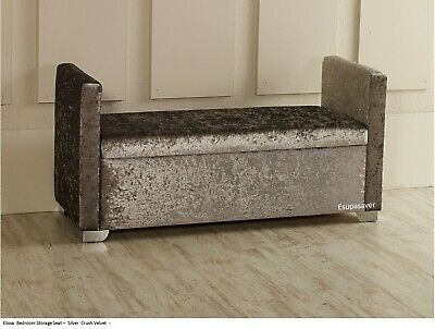 Elissa Ottoman Storage Window Bed End Seat Bench Stool Crush Velvet ESUPASAVER • 179£