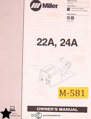 $39 • Buy Miller 22A And 24A, Welding Owner's Manual Year (2004)