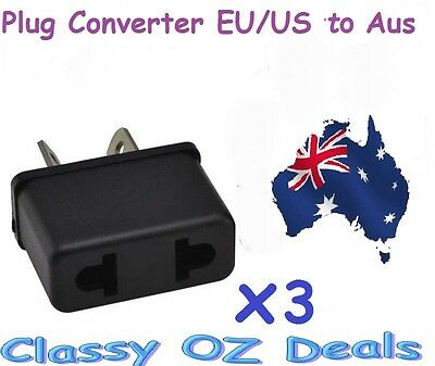 AU9.95 • Buy 3Pcs X USA US EU ADAPTER PLUG TO AU AUS AUSTRALIA TRAVEL CONVERTER PLUG PLASTIC