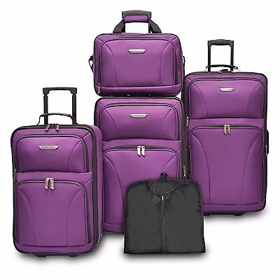 View Details Travelers Choice Ultimate 5pc Purple Expand Luggage Tote Suitcase Travel Bag Set • 99.99$