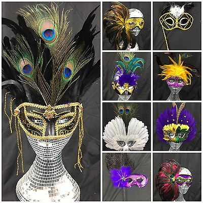 £6.99 • Buy Venetian Masquerade Mask - Fancy Dress Party High Quality UK Seller Real Feather