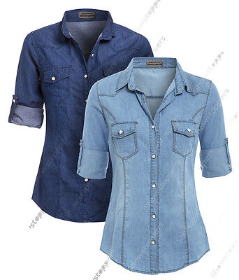 £16.95 • Buy NEW Womens Denim Shirt Ladies Classic Fitted Shirts Size 6 8 10 12 14 Blue Jean