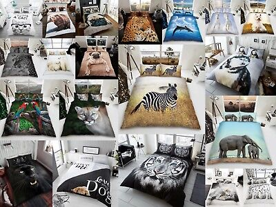 3D Animal Duvet Quilt Cover Set With Pillows Pug Tiger Lion Bear Cat All Size • 18.98£