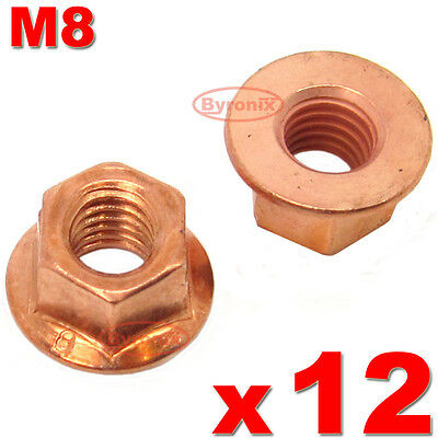 Bmw E30 3 Series Exhaust Manifold Nuts Head Stud Nut M8 Hex Copper Self Locking • 4.55£