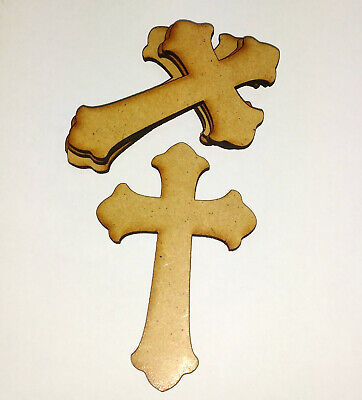 £3.85 • Buy Wooden Mdf Extra Large CROSS Craft Shapes Tags Tree Decor 3 PACK 3mm Thick