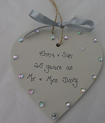 £5.85 • Buy Personalised 25th Silver Wedding Anniversary Handmade Wooden Heart Gift 10cm